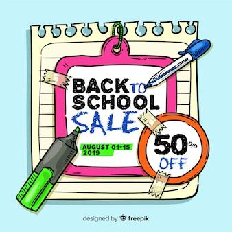 Ручной обращается обратно в школу продаж фоне