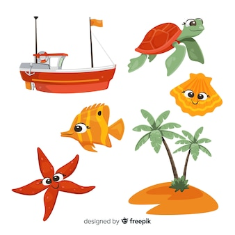 平らな海洋生物キャラクターコレクション