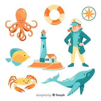 Плоская коллекция символов морской жизни