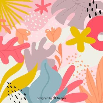 抽象的な手描きの花と葉