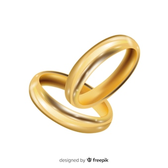 Золотые обручальные кольца в реалистическом стиле