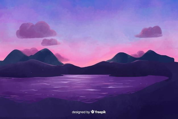水彩風の自然の風景の背景