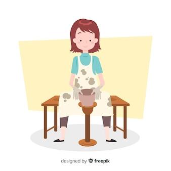 陶器のフラットデザインを作る人