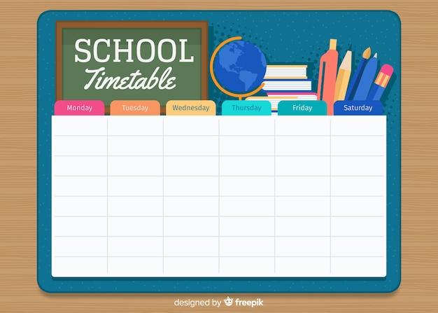 フラットスタイル学校時刻表テンプレート