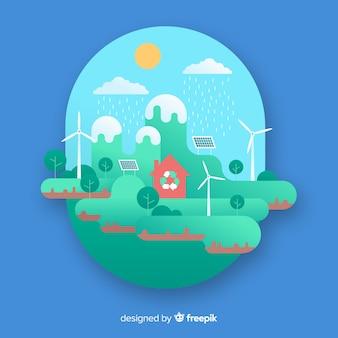 自然の要素を持つフラットデザインエコロジーコンセプト