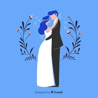 フラットデザインの結婚式のカップルの背景
