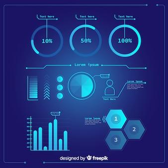 未来的なインフォグラフィック要素のパック