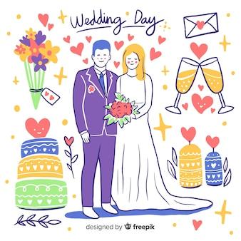 Ручной обращается свадебные пары с украшениями
