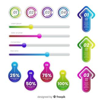 Пакет красочных инфографики элементов