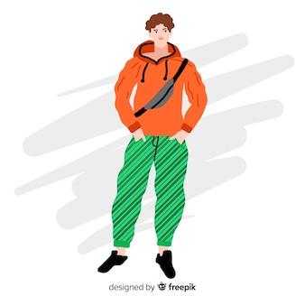 Мода иллюстрация с мужской моделью