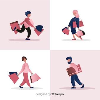 買い物袋を運ぶ人々のコレクション