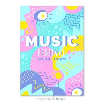 抽象的な手描き音楽祭のポスター