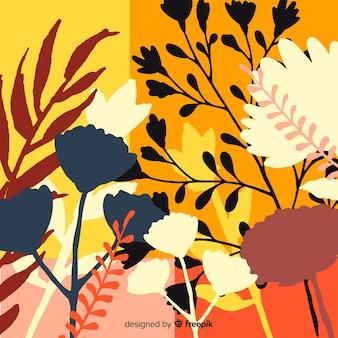 カラフルな花のシルエットと自然の背景