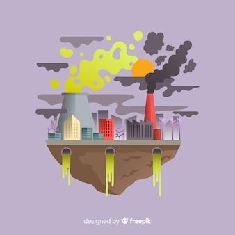 Загрязнение концепции фон плоский стиль