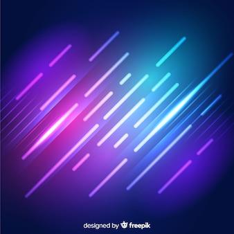 幾何学的な光沢のあるネオン図形の背景