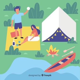 幸せな人が自然の中でキャンプ