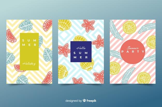 抽象的な夏カバーテンプレートコレクション