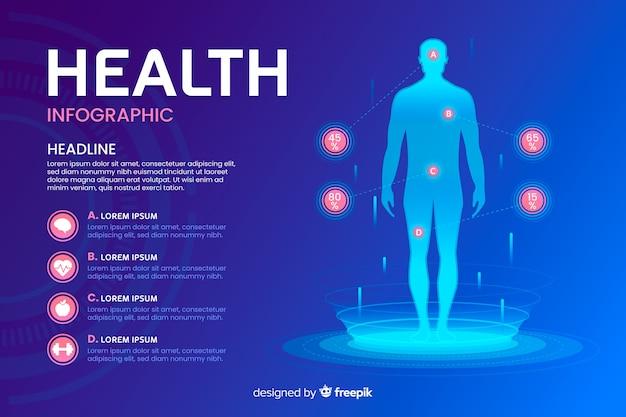 Здоровье инфографики шаблон плоский стиль