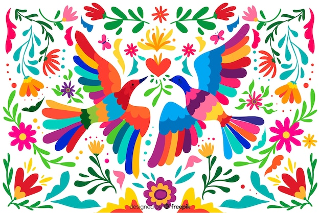 平らな刺繍メキシコの花の背景