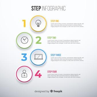 手順とカラフルなインフォグラフィックテンプレート