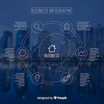 写真と近代的なビジネスのインフォグラフィック