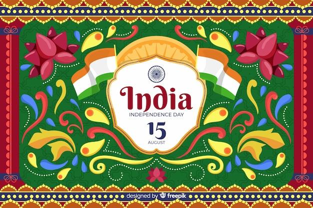 День независимости фон в стиле индийского искусства