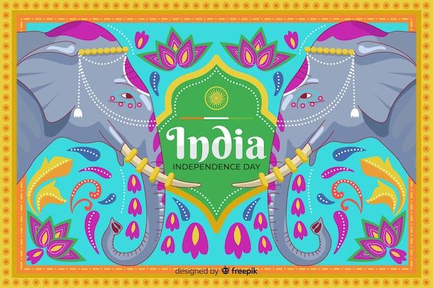 インドの芸術スタイルの独立記念日の背景