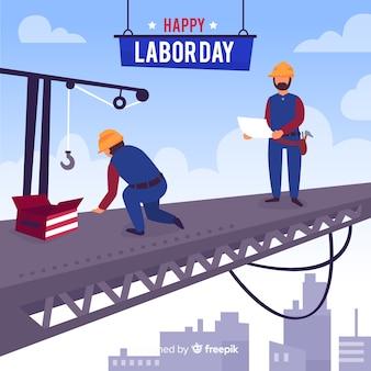 フラットスタイルの労働者の日の背景