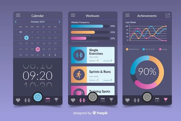 フィットネス携帯アプリインフォグラフィックテンプレートフラットスタイル