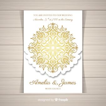 エレガントな結婚式の招待状カードのテンプレート