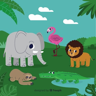 平らな熱帯動物のコレクション