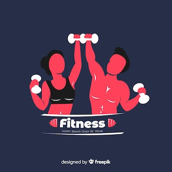 Фитнес логотип шаблон плоский стиль
