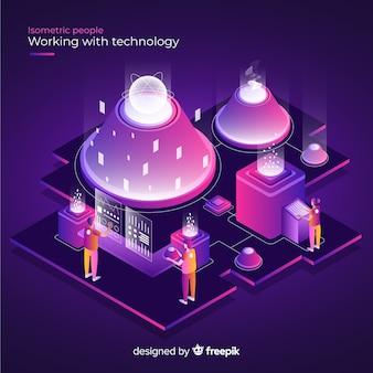 Изометрическая концепция людей, работающих с технологиями