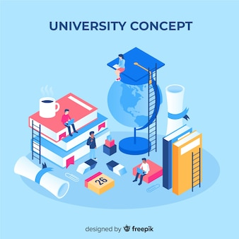Изометрические концепция университета с элементами школы