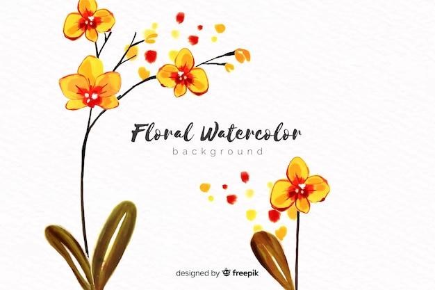 Естественный фон с акварельными цветами