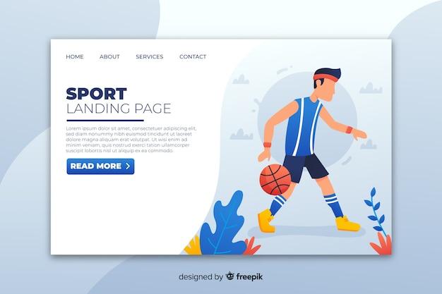 Шаблон плоской спортивной целевой страницы