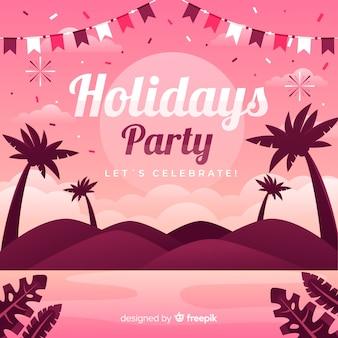 Плоская тропическая летняя вечеринка фон