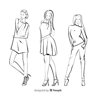 ファッションモデルのスケッチ集