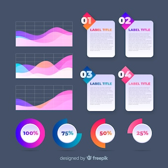 カラフルなインフォグラフィック要素のパック