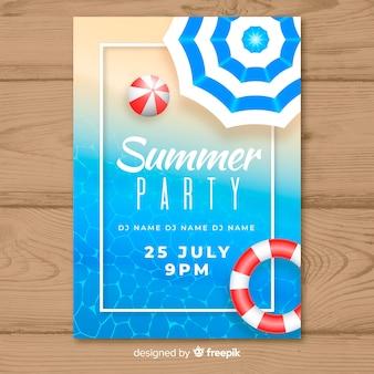 リアルな夏のパーティーポスターテンプレート