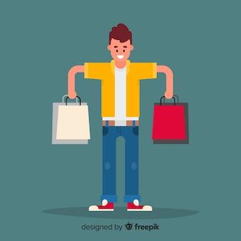 買い物袋を運ぶ幸せな男