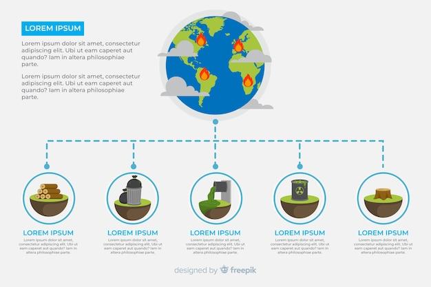 Глобальные экологические проблемы инфографики плоский стиль