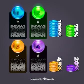 リアルな光沢のあるプラスチック製のインフォグラフィック要素のコレクション