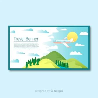 フラットデザイン旅行バナーのテンプレート