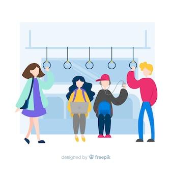 地下鉄の背景の人々