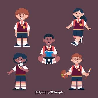 Мультяшные дети обратно в школьную коллекцию