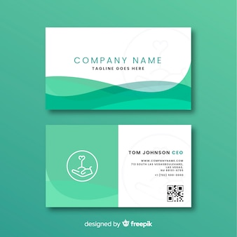 Шаблон визитной карточки плоский дизайн