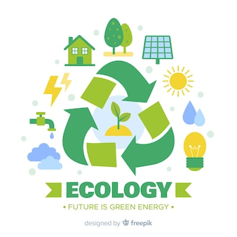 Ручной обращается концепция экологии с природными элементами