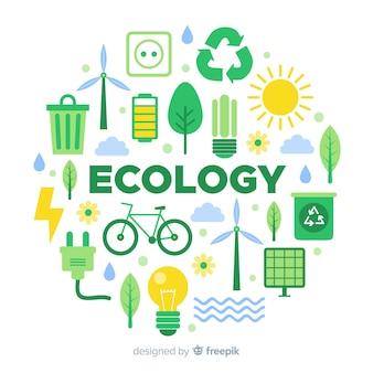 Плоский дизайн экология концепции с природными элементами
