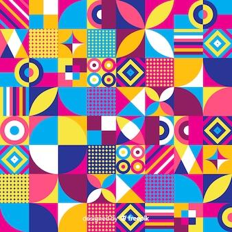 カラフルな幾何学的図形のモザイクの背景